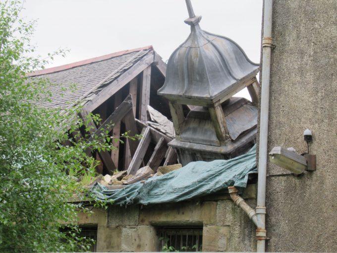 Fallen bell tower in Bangour Village