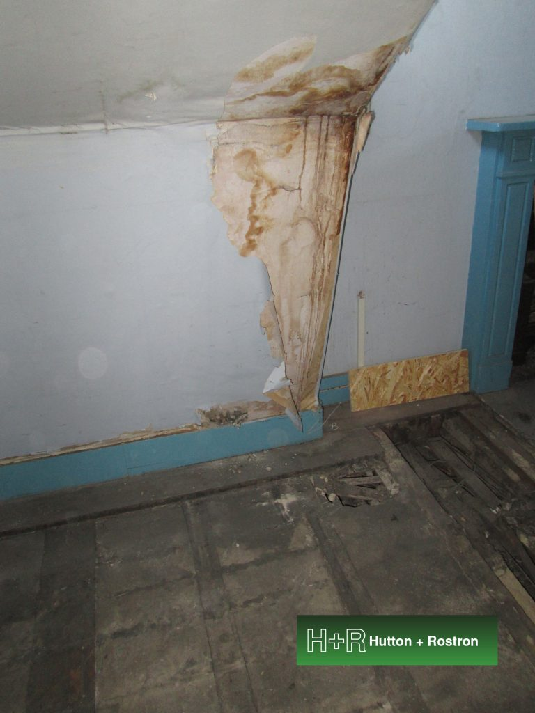 Water staining on wall from damp