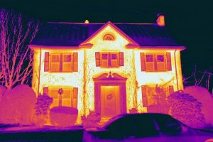 thermal image photo of a detached house